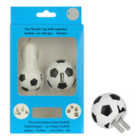 DW Universal USB Travel Wall Charger + 1A Car Charger - Soccer