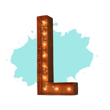 "12"" Letter L Lighted Vintage Marquee Letters (Modern Font/Rustic)"