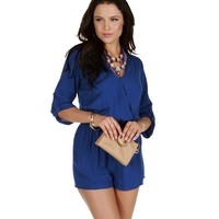 Royal Rolled Up Sleeves Romper