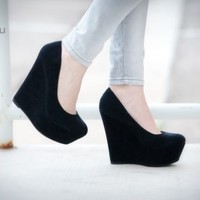 DbDk Klenny-5 Suede Round Toe Platform Wedge Heel (Black) - Shoes 4 U Las Vegas