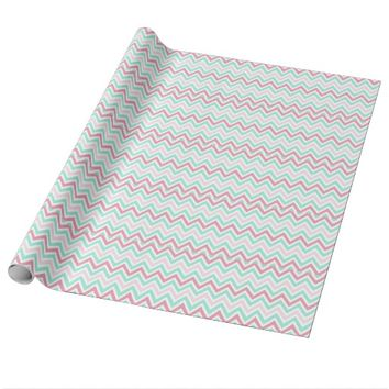 Pink and Teal Chevron Pattern Wrapping Paper