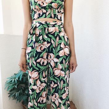 SUMMER TIME PANTS- GREEN FLORAL