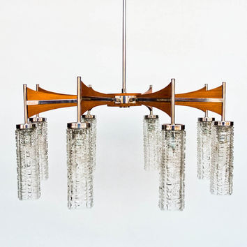 Mid century Ceiling Lamp / Eight  Arm Chandelier / Danish Teak Style Pendant Light / Wood, Chrome & Crystal