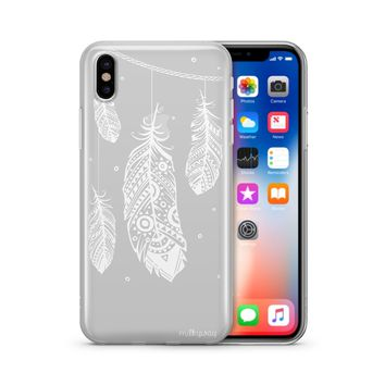 Henna Hanging Feathers - Clear TPU Case Cover Phone Case