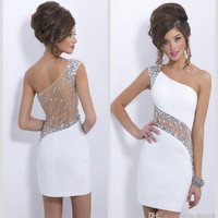 Hot Sale 2016 Crystal Cocktail Dresses Sexy One Shoulder Beaded Sheer Short 2017 Mini See Through Cheap Sheath Prom Party Gowns