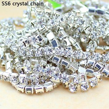 QIAO 10Yards SS6 2MM Crystal Rhinestone Chain DIY Sew On Silver Base Density Trim Strass Crystal Cup Chains For Dress