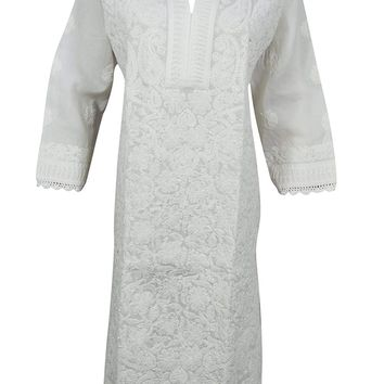 Mogul Interior Womans White Tunic Floral Paisley Hand Embroidered Cotton Indian Kurta Caftan Dress
