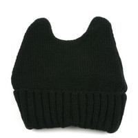 Women's Winter Knit Bunny Ear Beanie 335HB (Black)