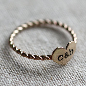 true love ring - gold filled and stamped with your initials