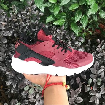 Sale Nike Air Huarache 4 Rainbow Ultra Breathe Men Women Hurache Black Red White Running Sport Casual Shoes Sneakers - 106