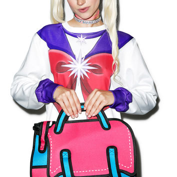 Dream Bags Fifth Period Cartoon Book Bag Pink/Blue One