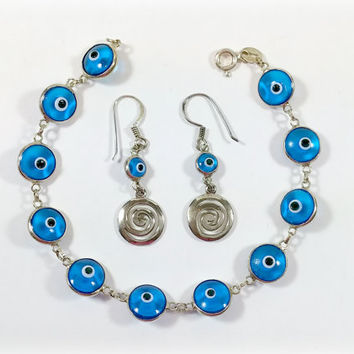 Evil Eye Bracelet Earrings Sterling Silver Matching Jewelry Set Translucent Blue Glass Beads Protection from Bad Luck