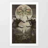 THE MAN IN THE MOON Art Print by julialillardart