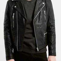 Men's Topman Black Leather Biker Jacket
