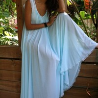 Tiffany Blue Wedding Lingerie Nightgown Full Sweep Nylon Angelic Something Blue Breakfast At Tiffanys Handmade Bridal
