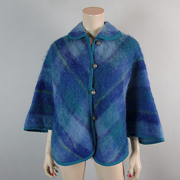 Mod Vintage 50s 60s Wool Mohair Plaid Cape Poncho Jacket Carnaby Mad Men Atomic Fuzzy Shawl Lord and Taylor West Germany grunge gypsy emo
