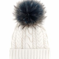 Fur-trimmed wool and cashmere beanie