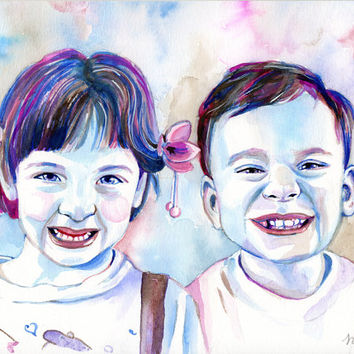 2 BROTHERS COLORFUL watercolor PORTRAIT - 2 people custom painting
