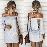 Patchwork Backless Stripes One Piece Dress [11803100303]