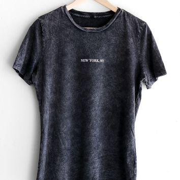 New York, NY Relaxed Tee - Acid Wash Black