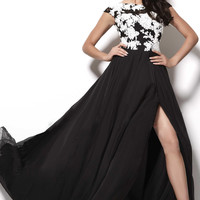 zipper sweep train appliques cap sleeve scoop prom dress - sarahprom.com