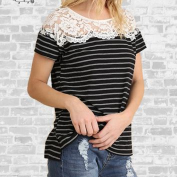 Stripes & Lace Tee - Black & White