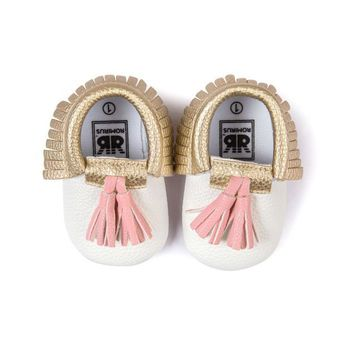 Infant Toddler Baby Boy Girl Tassel Soft Sole Prewalker Shoes Shoes White