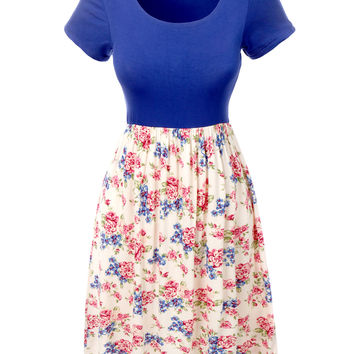 LE3NO Womens Lightweight Short Sleeve Dress with Floral Print Hem