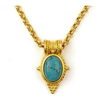 22 Karat Gold Finish Egyptian Revival Natural Blue Turquoise Pendant, Necklace