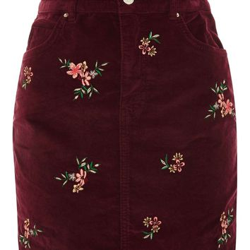 MOTO Velvet Embroidered Denim Skirt - Skirts - Clothing