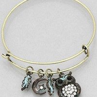 Womens Jewelry, Crystal OWL Hook Bangle Bracelets Color : Gold-patina-clear Size : Diameter:2.25inch