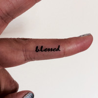 10 Blessed Temporary Tattoo Tiny Word / Finger Face Tattoo / Fake Tattoos / Set of 10