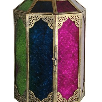 Authentic Metal Lantern In Antique Gold Finish