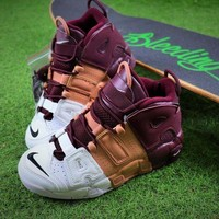 DCC3W Nike Air More Uptempo OG Basketball Shoes Wine Red Yellow White Sneaker