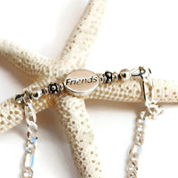 "Sterling Silver ""FRIENDS"" Bracelet with Italian Silver Figaro Chain - (300.14)"