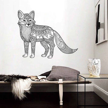 kik3173 Wall Decal Sticker Zentangle Style Fox animal living room bedroom