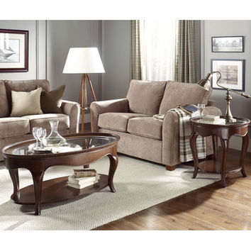 American Drew Cherry Grove NG 2 Piece Glass Coffee Table Set in Brown