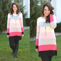 Block It Off Tunic in Coral