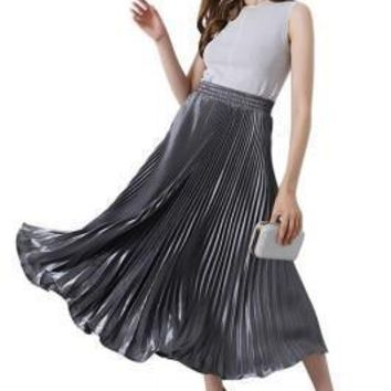 Eye Catching Navy Blue Pleated Skirt Mid Calf Length