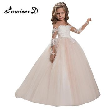 2017 Champagne Flower Girl Dress for Weddings Long Sleeves Ball Gown Puffy Lace Girl Party First Communion Dresses Pageant Gowns