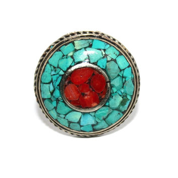 Round coral turquoise bohemian ring