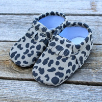Cow Print Baby Moccasins