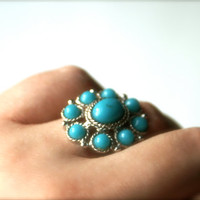 Faux Turquoise and Silvertone Vintage Ring by Sarah Coventry