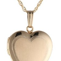 14k Yellow Gold-Filled Engraved Heart Locket Necklace, 18""