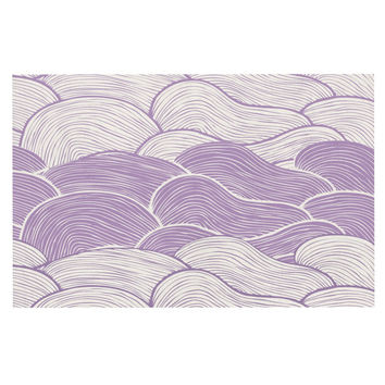 "Pom Graphic Design ""The Lavender Seas"" Purple Waves Decorative Door Mat"
