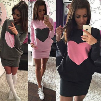 Heart Printed Winter Cotton Dress
