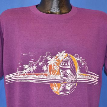 80s Sailboat Sunset Palm Trees Double-Sided t-shirt Large