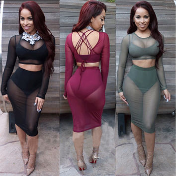 Sexy Club Wear Plus Size Women  Mesh Dress Sheer Party Dresses Outfits 2 Piece Set Bodycon Bandage Black Lace Dress