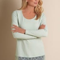 Madame Lace Tee - Long Sleeve Scoop Neck Tee, Cardigan Tee | Soft Surroundings
