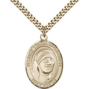 "Blessed Teresa Of Calcutta Medal For Men - Gold Filled Necklace On 24"" Chain ... 617759253467"